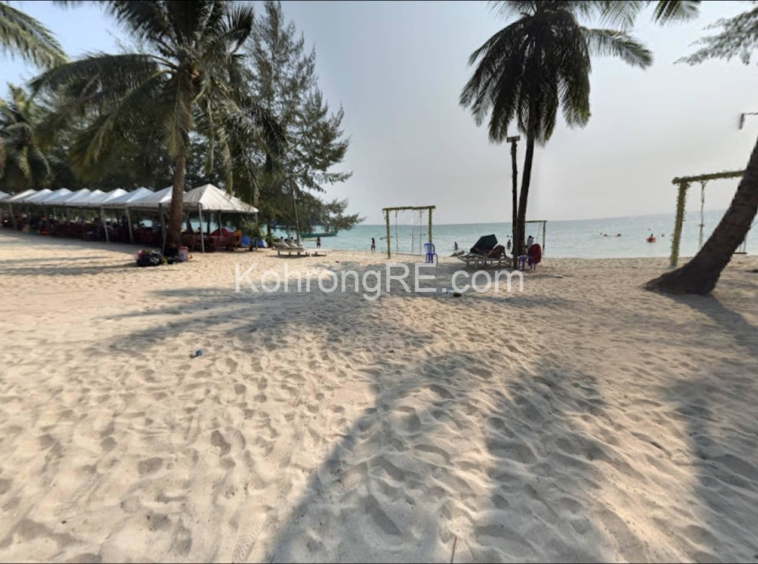 white sand beach, palm trees, land for sale, koh rong