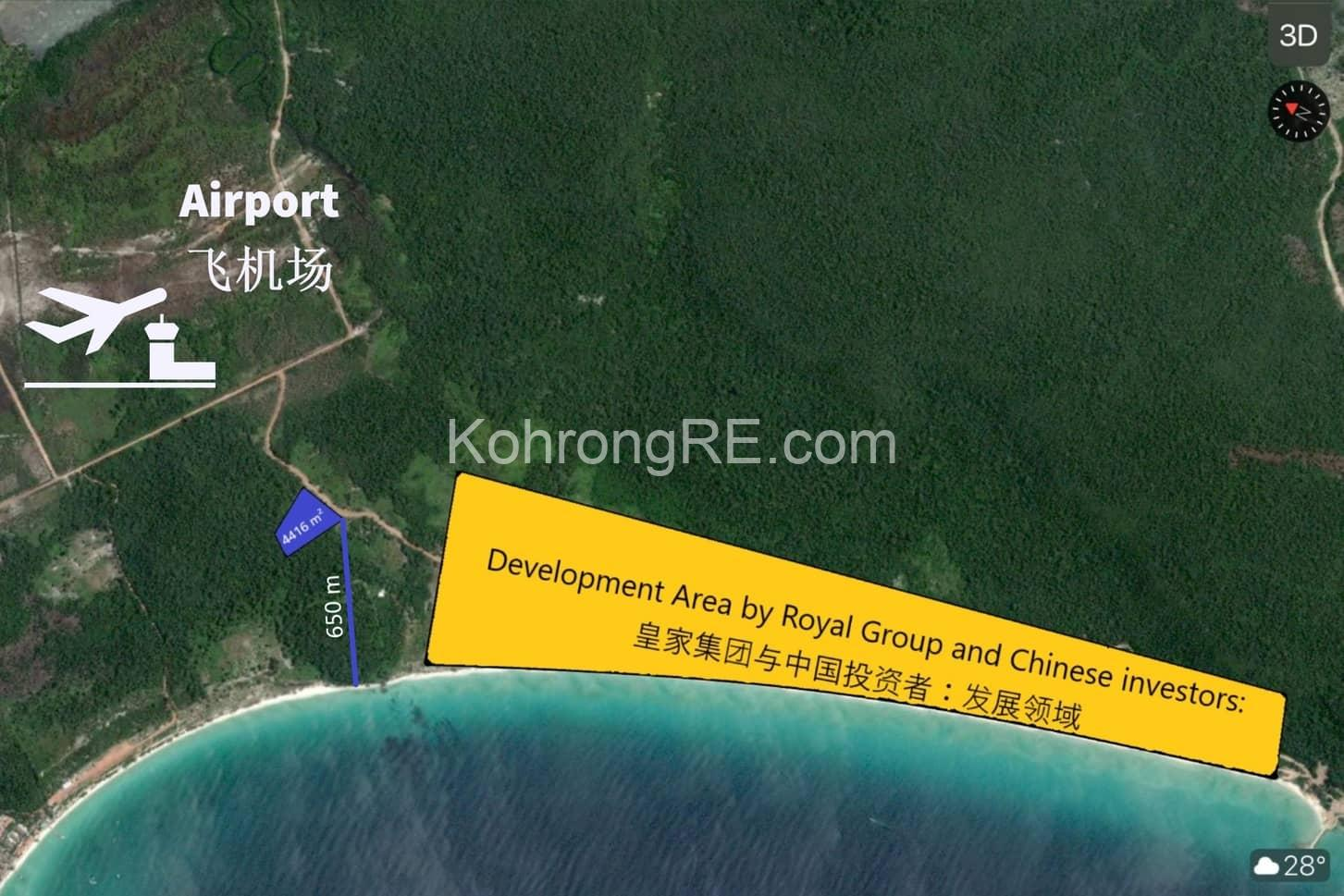 land for sale in Koh Rong near Royal beach long beach main road hard title hard card near airport koh rong