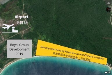 Development by Royal Group shown on Map visual: royal group koh rong development real estate casino resort airport on Koh Rong island Cambodia